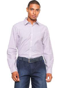 Camisa Ellus Reta Striped Vinho