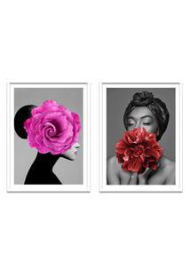 Quadro 67X100Cm Ágda Mulher Com Flores Rosa E Vermelha Nórdico Moldura Branca Sem Vidro