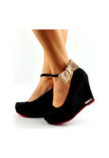 Sapato Peeptoe Anabela Fechado Laço