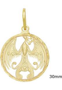 Pingente Medalha Fênix Vazada - Unissex-Dourado