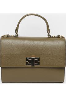 Bolsa Em Couro Com Pespontos- Verde Escuro- 26X27X6Cjorge Bischoff