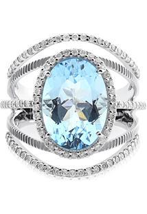 Anel Ouro Branco Topã¡Zio E Diamantes