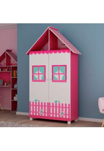 Guarda-Roupa Gélius Casinha 2 Portas - Pink Ploc E Branco Acetinado