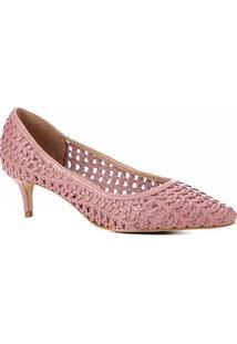 Scarpin Couro Shoestock Salto Médio Tressê - Feminino-Rosa
