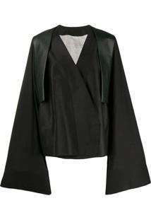 Rick Owens Trench Coat Com Transpasse - Preto