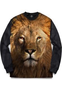 Blusa Bsc Lion Full Print - Masculino-Preto