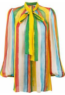 Dolce & Gabbana Blusa Listrada De Seda Com Laço - Estampado