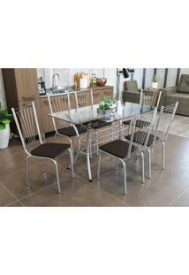 Conjunto Mesa Daria C/ 6 Cadeiras Canada Cromada Kappesberg