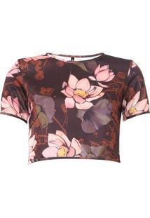 Blusa Cropped Lança Perfume Floral Marrom/Rosa - Kanui