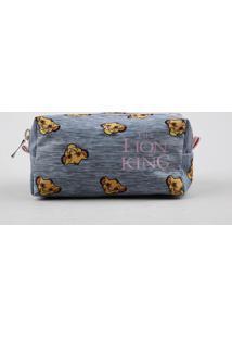 Nécessaire Feminina O Rei Leão Estampado Cinza Mescla Claro