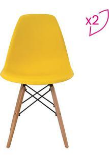 Conjunto De Cadeiras Eiffel Sem Braço- Amarelo & Marrom Rivatti