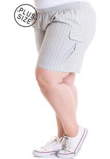 Bermuda Feminina Plus Size Tecido Anarruga 24827 Xadrez