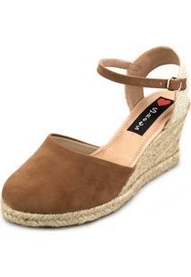 Sandália Anabela Love Shoes Espadrille Fechada Corda Caramelo