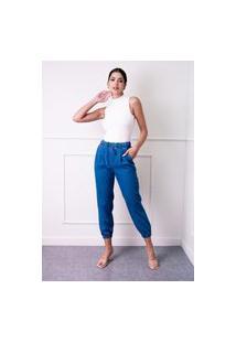 Calça Sisal Jeans Jogger Elastico Barra E Cintura Azul