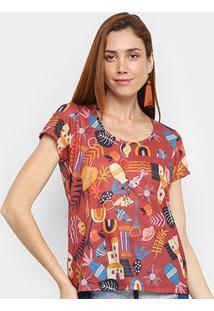 Camiseta Cantão Folhagens Manga Curta Feminina - Feminino-Vermelho