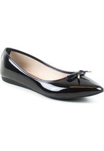 Sapatilha Tag Shoes Verniz Feminino - Feminino-Preto