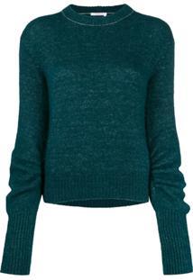 Chloé Suéter Com Franzido Nas Mangas - Verde