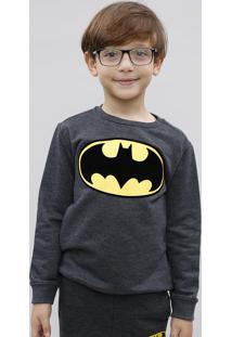 Blusão Infantil Batman Em Moletom Chumbo