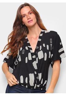 Blusa Cantão Kimono Corrosao Tribo Feminina - Feminino-Colorido