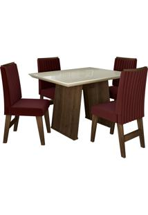 Conjunto De Mesa Para Sala De Jantar Com Tampo De Vidro E 4 Cadeiras Vigo -Dobuê Movelaria - Castanho / Branco Off / Vinho Bord