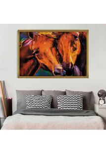 Quadro Love Decor Com Moldura Horses Dourado Grande