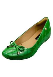 Sapatilha Bico Quadrado Love Shoes Confort Matelasse Laçinho Verniz Verde