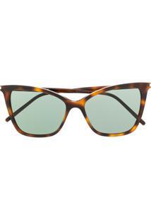 Saint Laurent Eyewear Óculos De Sol Gatinho - Marrom