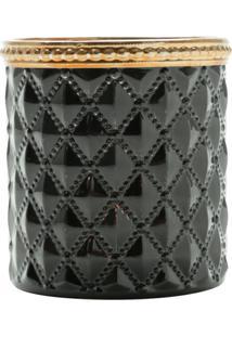 Cachepot De Vidro E Zamac Bristol Preto E Dourado 7X7,5Cm Lyor - Preto/Dourado - Dafiti
