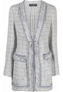 Dolce & Gabbana Jaqueta De Tweed Com Botões - Cinza
