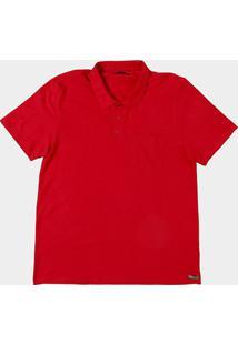 Camisa Polo Kohmar Piquet Plus Size Masculina - Masculino-Vermelho