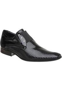 Sapato Masculino Malbork Em Couro Verniz Com Elástico 517 - Masculino-Preto