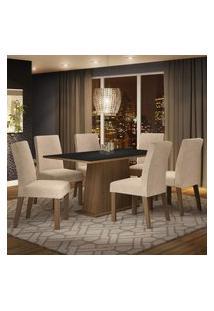 Conjunto Sala De Jantar Madesa Luciana Mesa Tampo De Madeira Com 6 Cadeiras - Rustic/Preto/Imperial Marrom