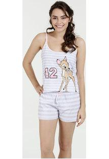 Pijama Feminino Short Doll Estampa Bambi Disney