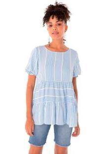 Blusa Karamello Recortes Feminina - Feminino-Azul