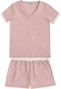 Pijama Feminino Em Malha De Algodão Com Decote V E Acabamento Em Renda