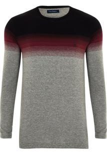 Camiseta Manga Longa Listradora Preto Mescla
