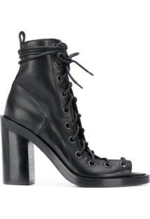 Ann Demeulemeester Ankle Boot Com Amarração - Preto