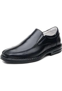 Sapato Ranster Com Bico Quadrado Em Couro Preto