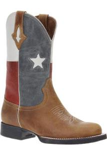 Bota Couro Texas West Country Masculina - Masculino-Marrom