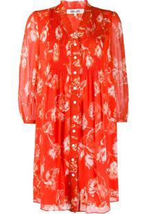 Dvf Diane Von Furstenberg Vestido Com Estampa Floral - Laranja