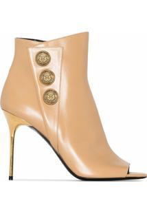 Balmain Ankle Boot Sara De Couro Com Salto 100Mm - Neutro