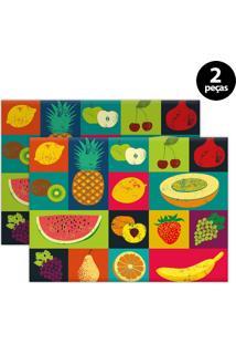 Kit 2Pçs Jogo Americano Mdecor Frutas 40X28Cm Verde