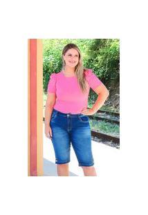 Bermuda Barra Botões Almaria Plus Size Fact Jeans Azul