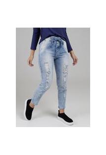 Calça Jeans Mom Feminina Azul
