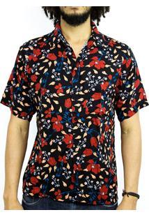 Camisa Andy Roll Clothing Folk Flowers Preta