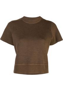 Proenza Schouler Blusa Cropped Com Decote Careca De Lã Merino - Marrom