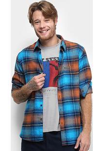 Camisa Ellus 2Nd Floor Wool San Diego Xadrez Manga Curta Masculina - Masculino-Azul Turquesa