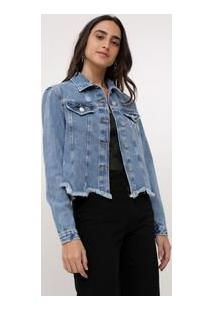 Jaqueta Jeans Com Barra Recortada