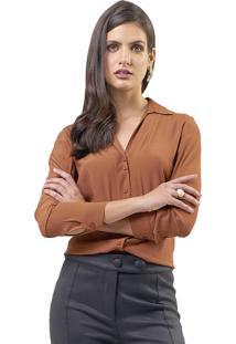 Camisa Mx Fashion Viscose Alissa Marrom