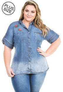 f4dcf6c661 ... Camisa Jeans Plus Size - Confidencial Extra De Manga Curta Com Bordado  Azul Marinho